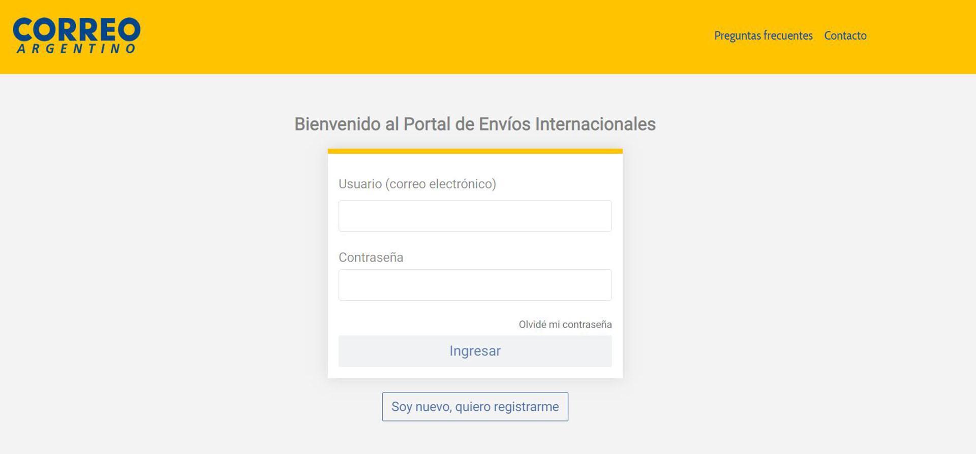 El nuevo portal del Correo Argentino