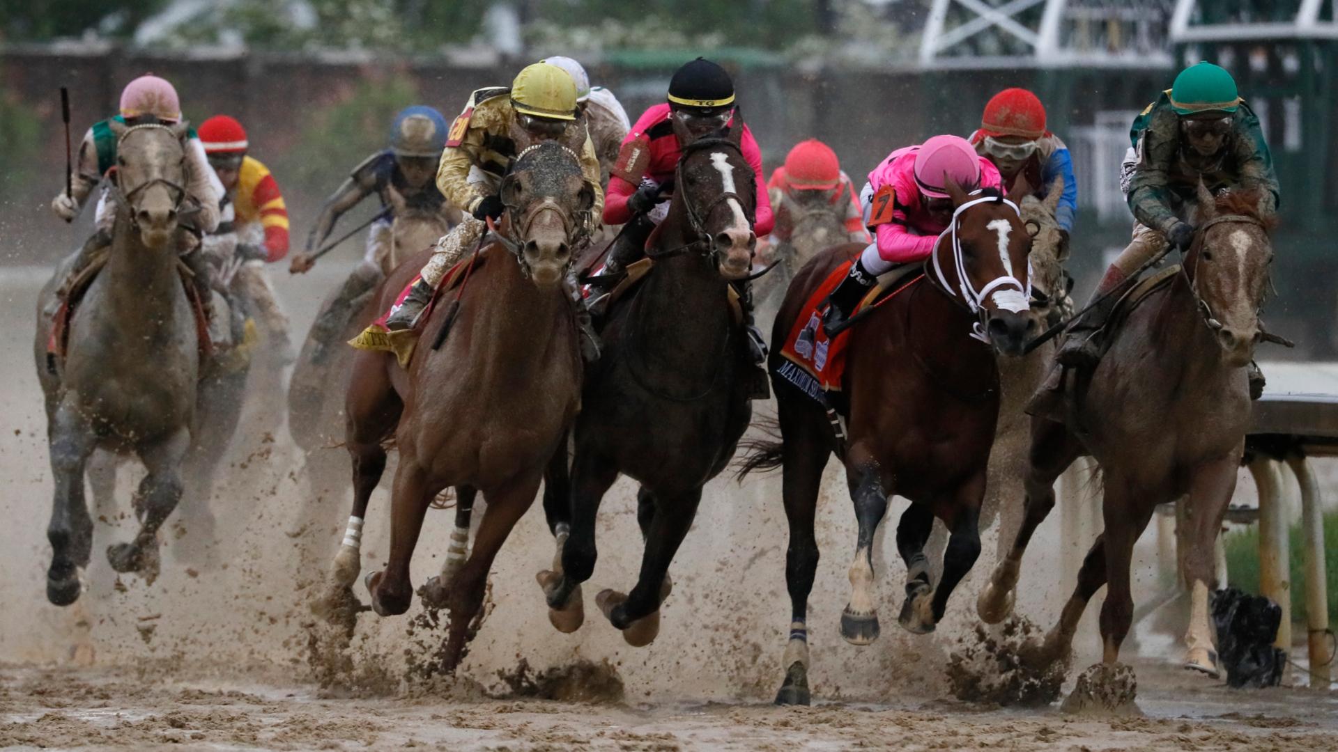 Los jinetes del Derby de Kentucky durante la competición. (AP)