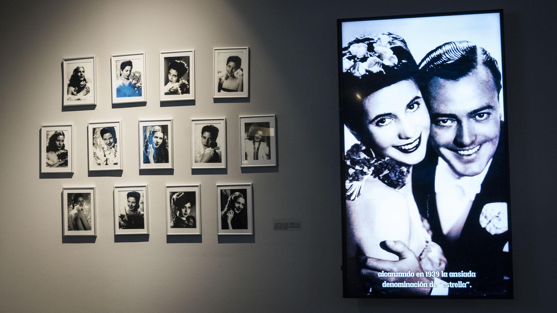 """""""Las novedades de la sala exhiben fotos nuevas de Eva en su época de actriz. Solo por la colección del fotógrafo húngaro Sivul Wilensky, sino que hay una serie de nuevas fotos que fueron donadas en 2014 y que corresponden a una Eva muy joven,que jugaba a la actriz"""", agregó Gané"""