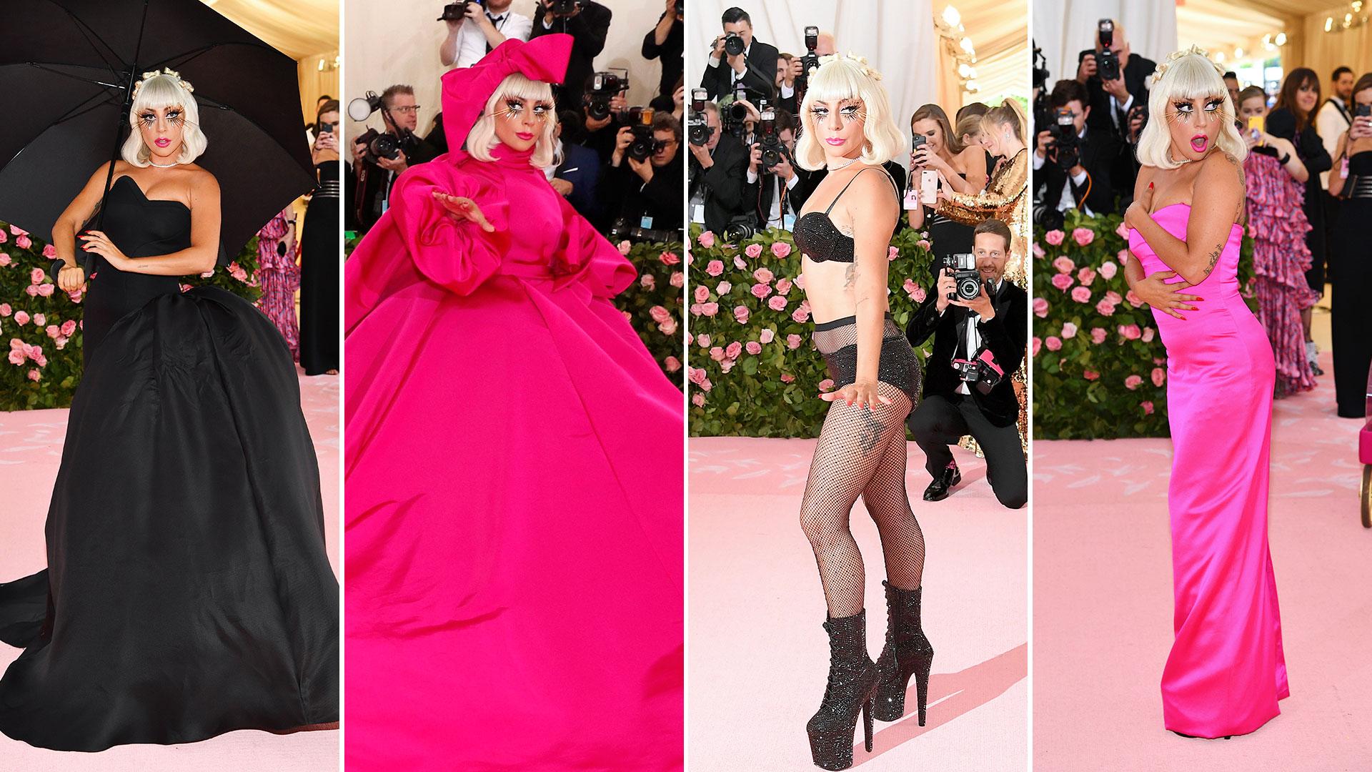 """Los cuatro looks de Lady Gaga. la diva se fue """"desvistiendo"""" hasta llegar a un conjunto de ropa interior negro"""