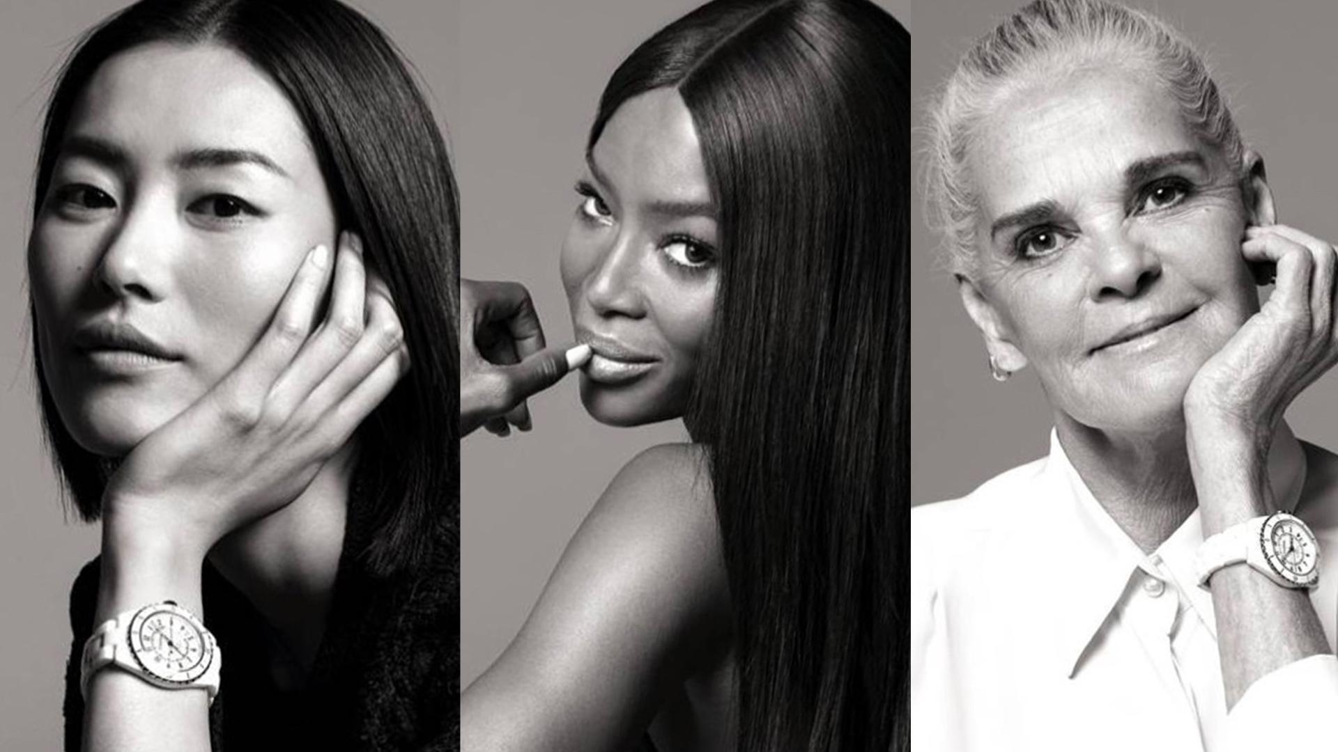 La estrella china Liu Wen, la supermodel Naomi Campbell y la siempre bella Ali MacGraw, lo nuevo de Chanel J12.