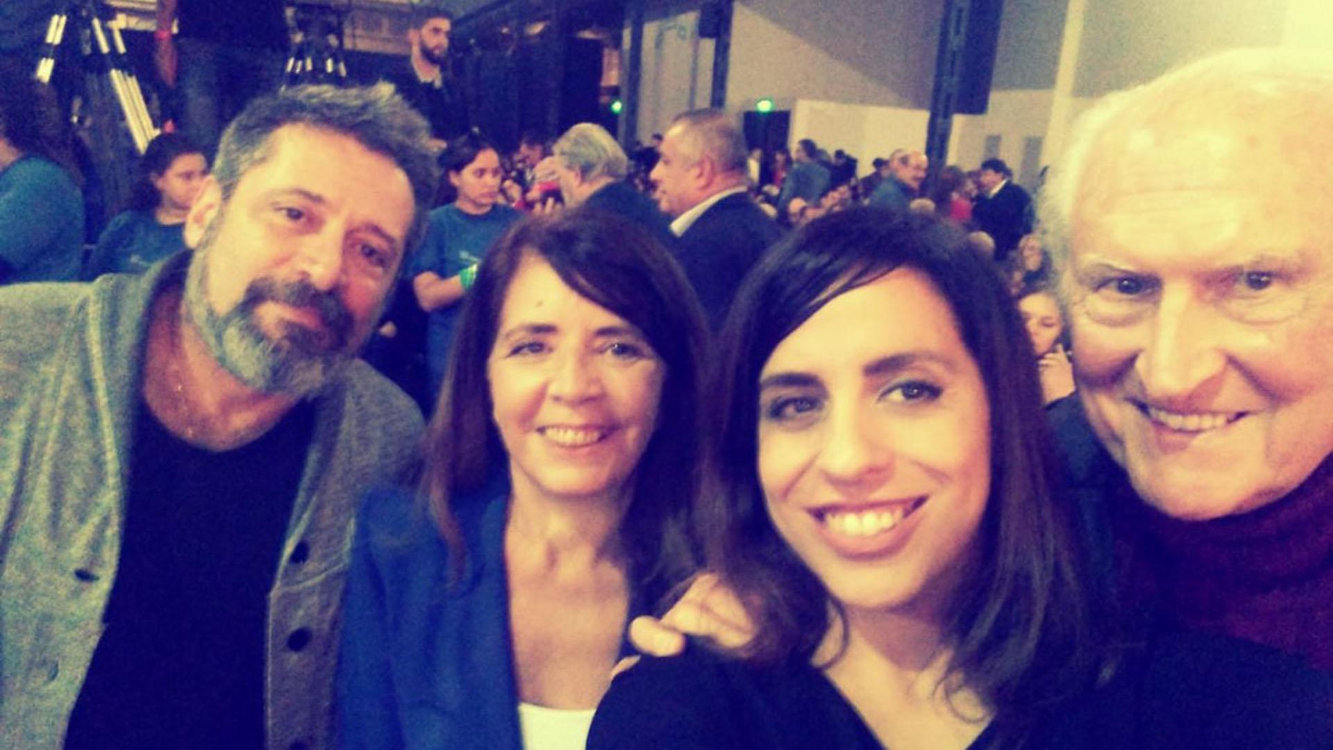 Los dirigentes Víctor Santa María, Gabriela Cerruti, Victoria Donda y Pino Solanas (@gabicerru)