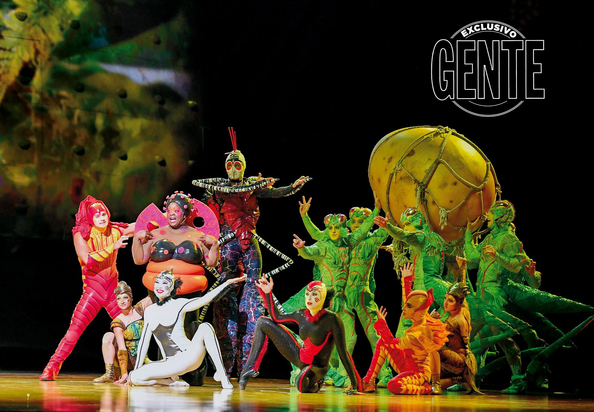 Bichos de fábula. Grillos, hormigas y arañas de seda, conviven en una gran escena sobre el escenario.