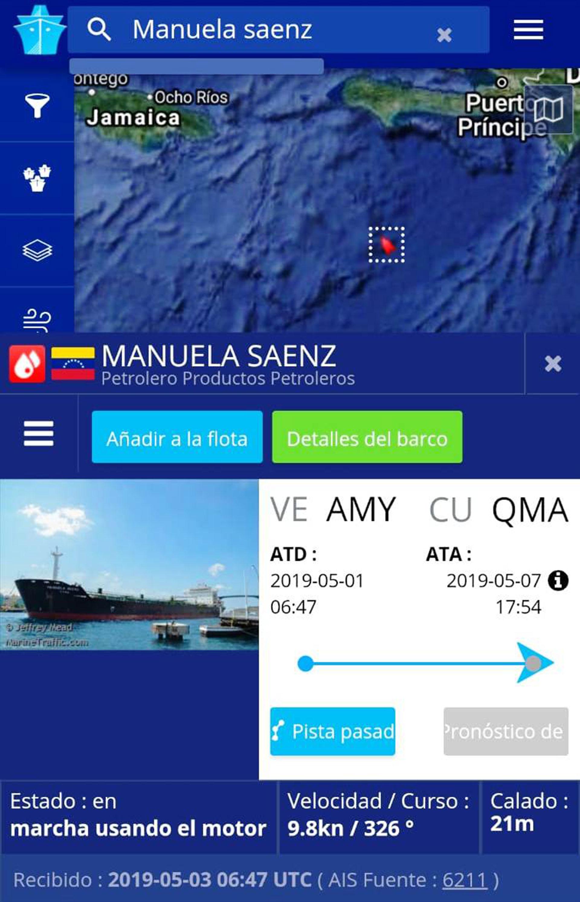 El Manuela Sáenz partió a Cuba el 1 de mayo