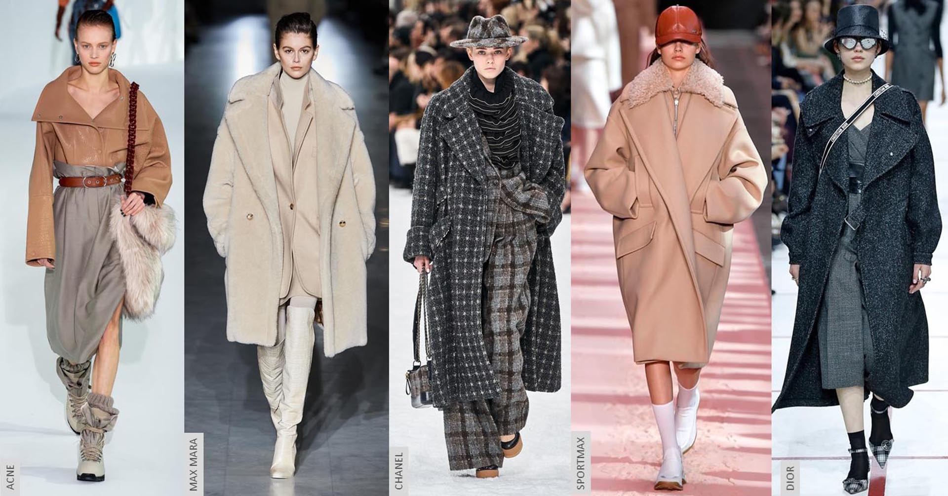 Abrigos oversizes en las pasarelas de las semanas de la moda.
