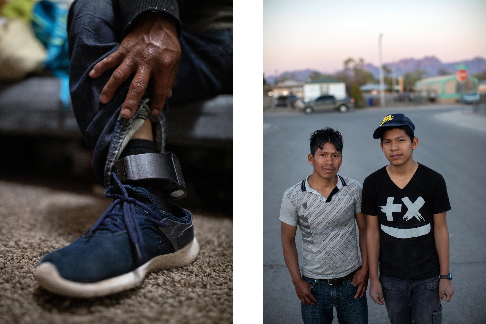 A la izquierda, el Servicio de Inmigración y Control de Aduanas estadounidense (ICE) le puso a Rigoberto Pablo un monitor electrónico. A la derecha, Rigoberto y su hijo Álex (Tamir Kalifa para The New York Times)