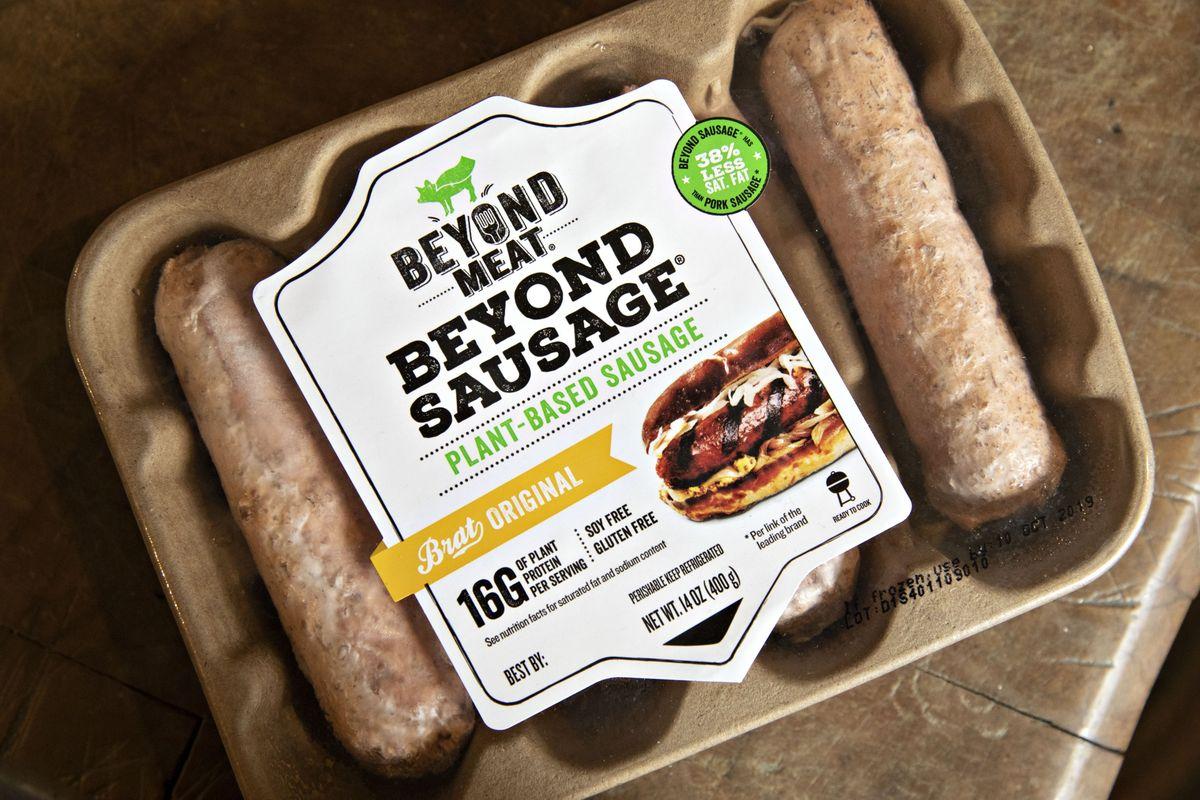 Beyond Meat: salchicha a base de plantas de carne Fotógrafo: Daniel Acker / Bloomberg
