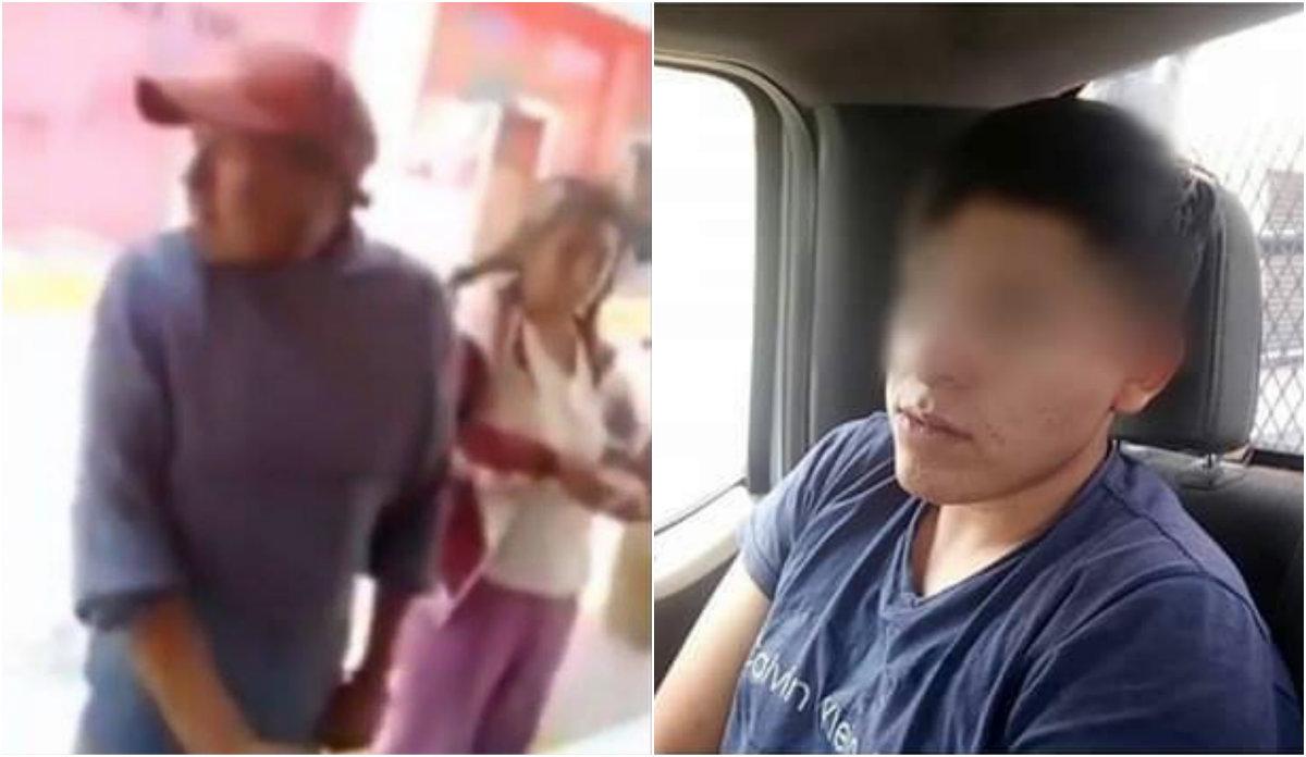 La mujer estaba parada tranquilamente al lado de los hombre cuando la golpeó el sujeto de 21 años, quien días después fue detenido Foto: Especial y Ayuntamiento de Tequesquitla, Tlaxcala