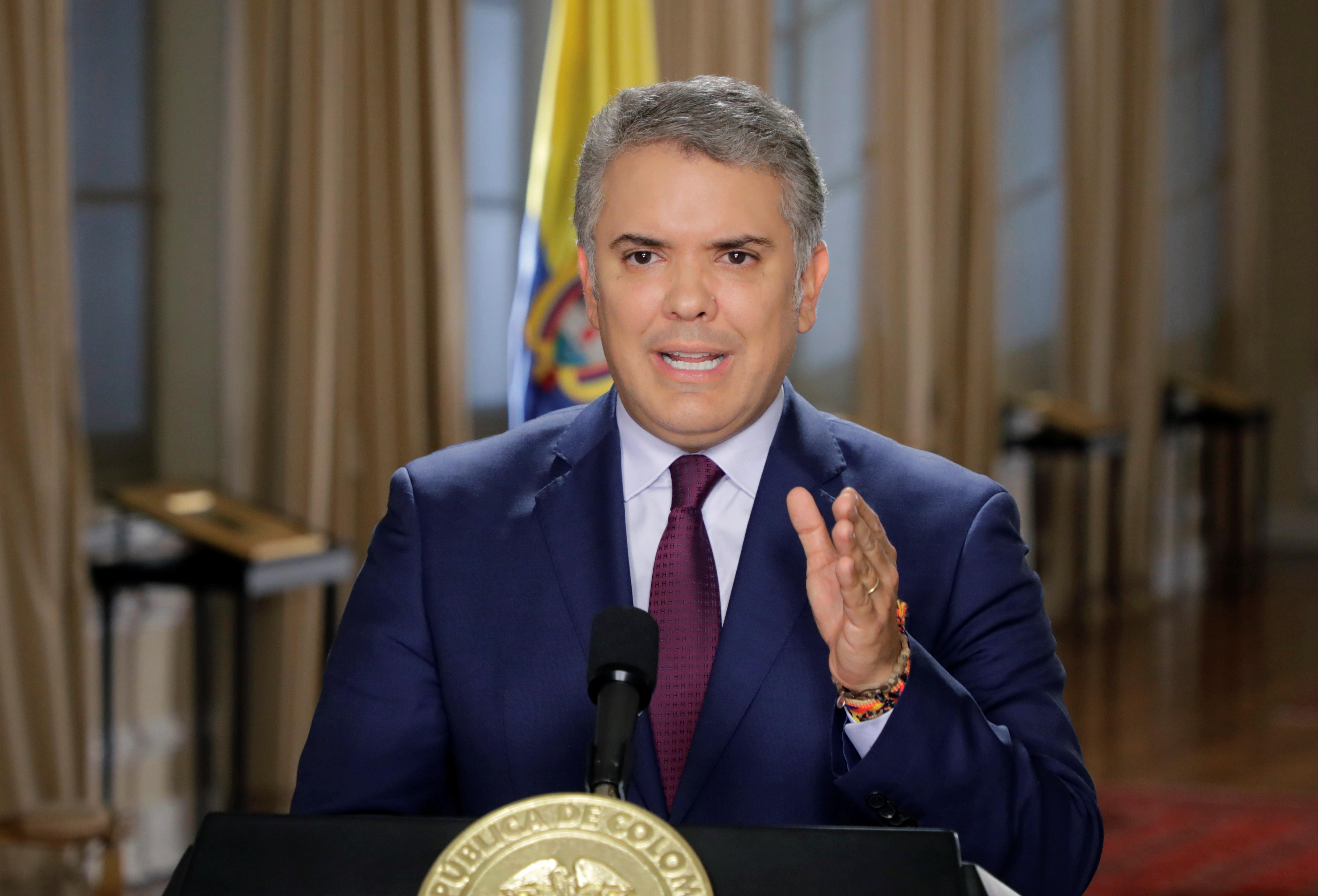 El presidente de Colombia Ivan Duque Marquez durante su alocución en el Palacio de Narino (Presidencia Colombia via REUTERS)