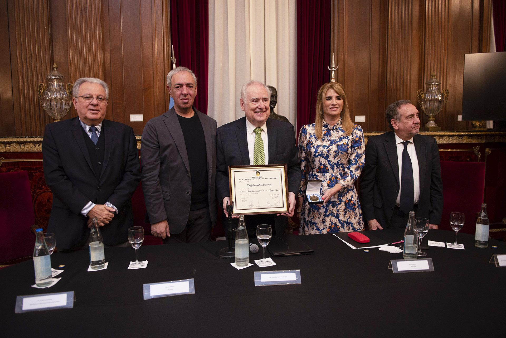 Alberto Barbieri, Omar Abboud, Guillermo Jaim Etcheverry, Paula Villalba y Lino Barañao