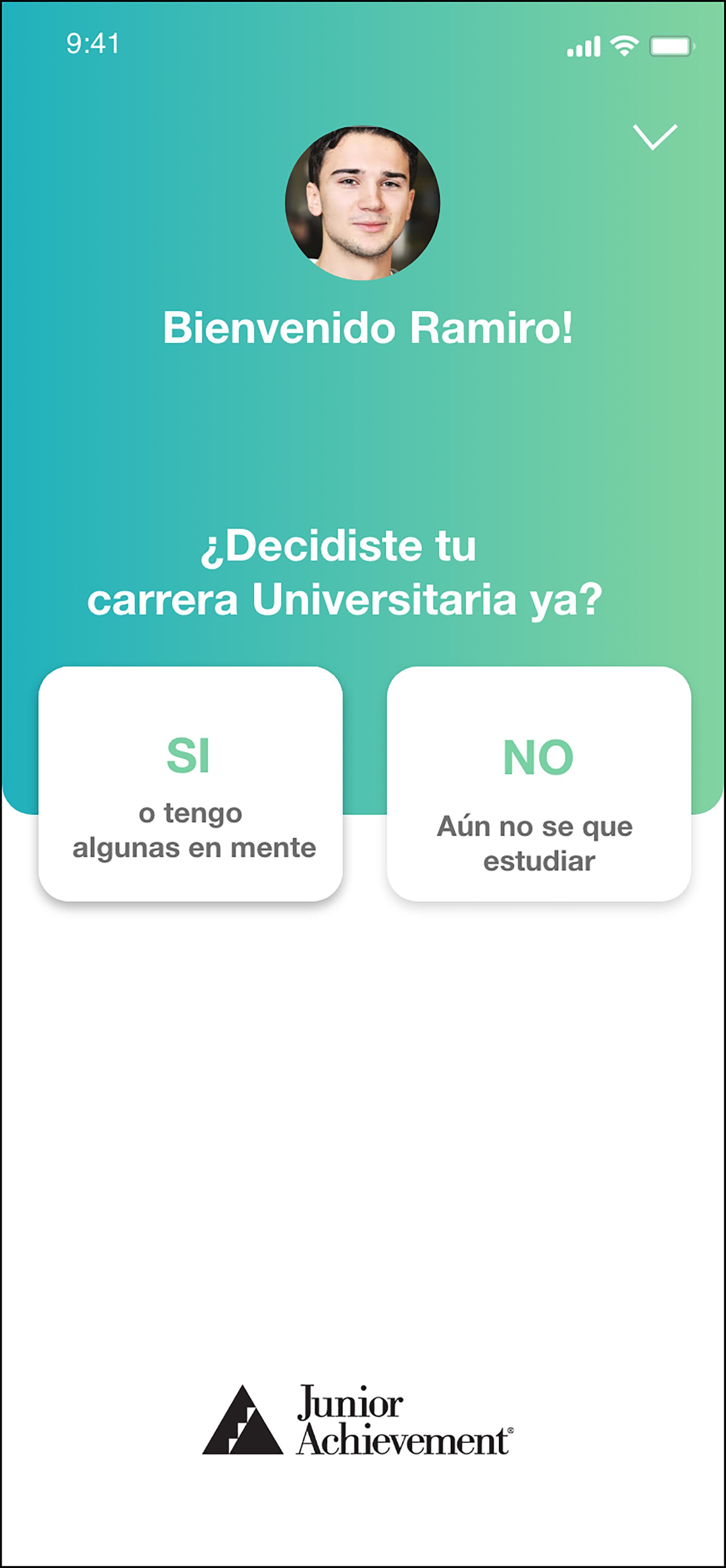 La demo de la interfaz de la plataforma de orientación vocacional