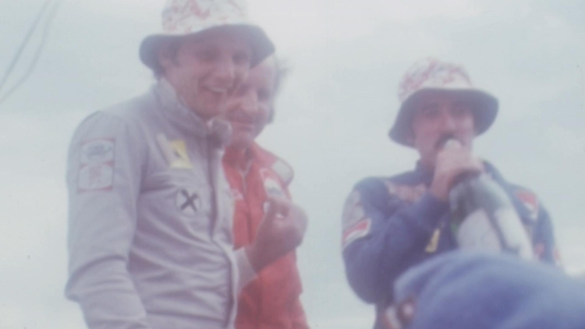 Otra imagen de Niki Lauda en Argentina en 1978, junto a los pilotos argentinos Carlos Reutemann y Ricardo Zunino
