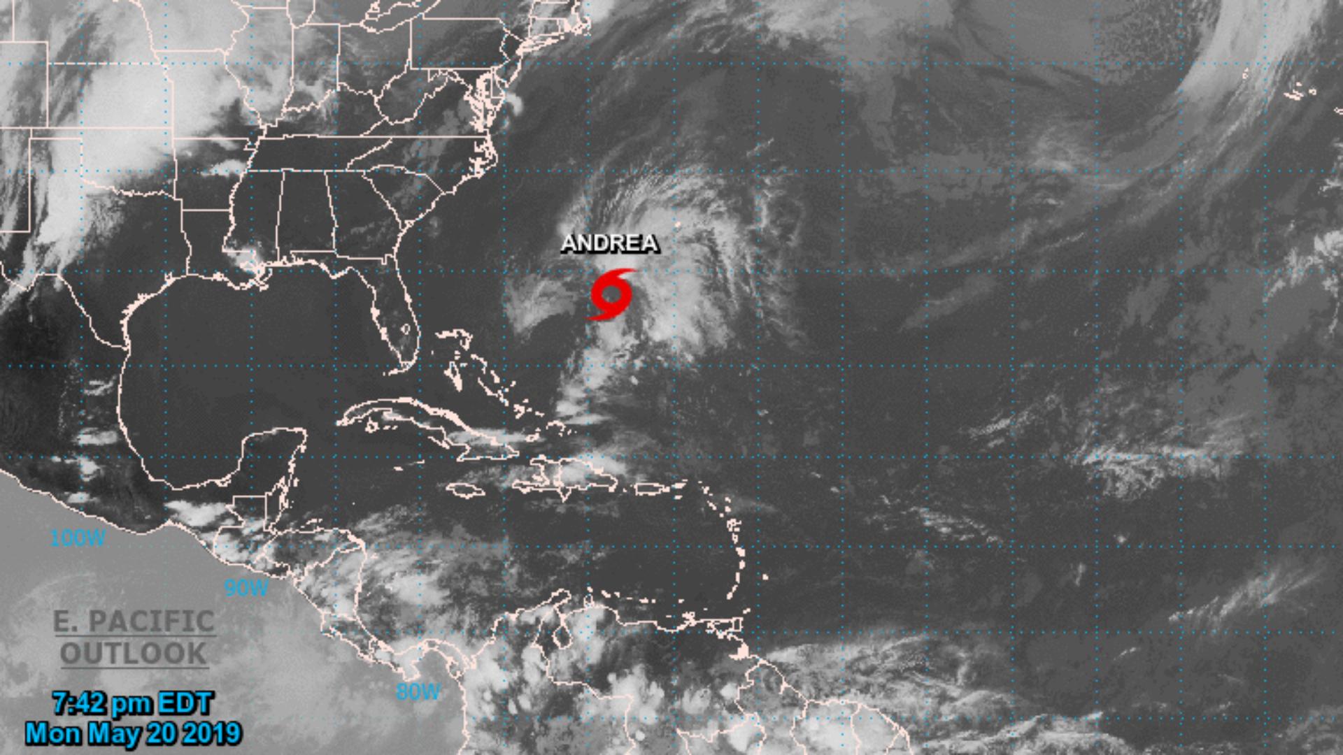 La ubicación de la tormenta Andrea (Centro Nacional de Huracanes)