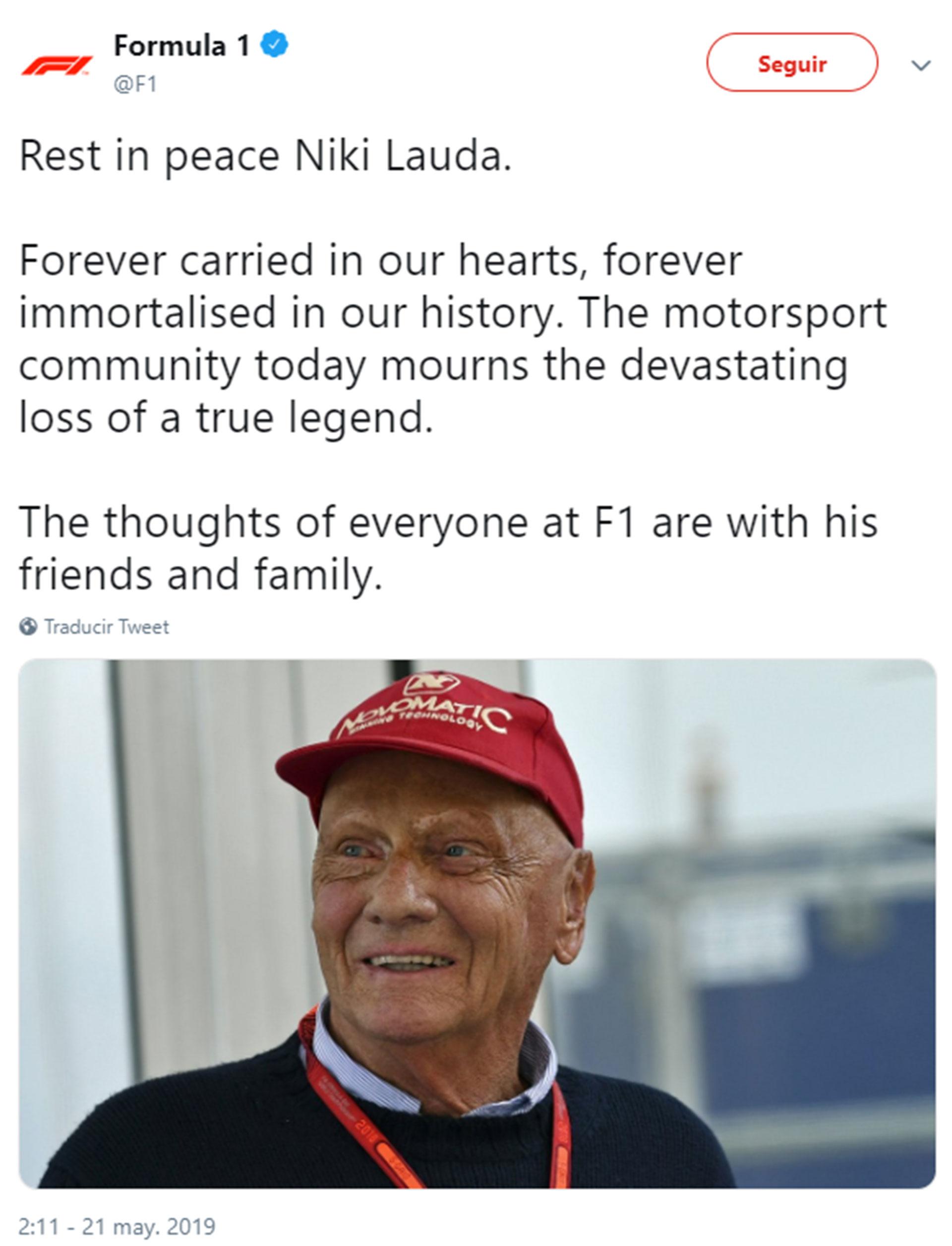 La Fórmula 1 escribió un conmovedor mensaje para Lauda, fallecido a los 70 años