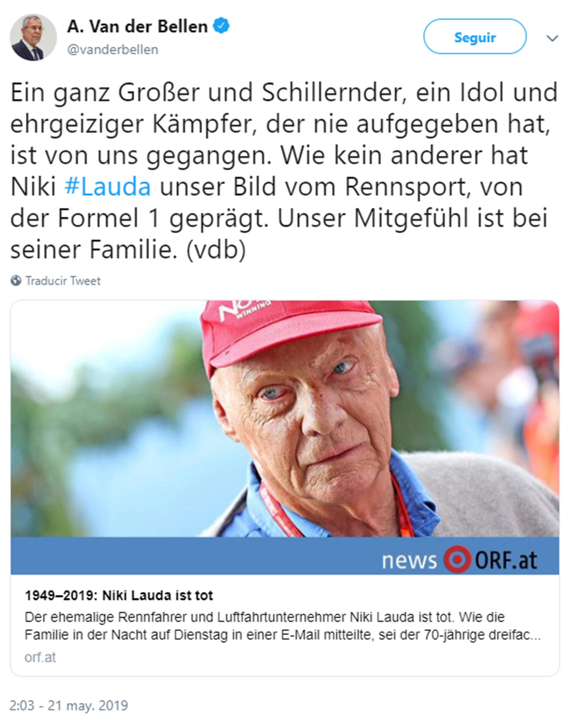 Alexander Van der Bellen, presidente de Austria, envió un mensaje de condolencias a la familia de Niki Lauda