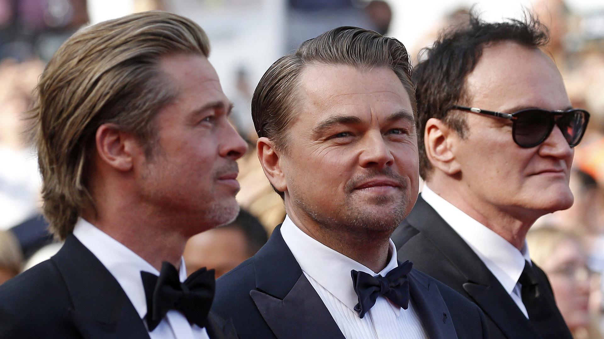 """Brad Pitt, Leonardo DiCaprio y Quentin Tarantino en la alfombra roja de Cannes. La novena película del realizador de """"Pulp Fiction"""" compite por la Palma de Oro"""