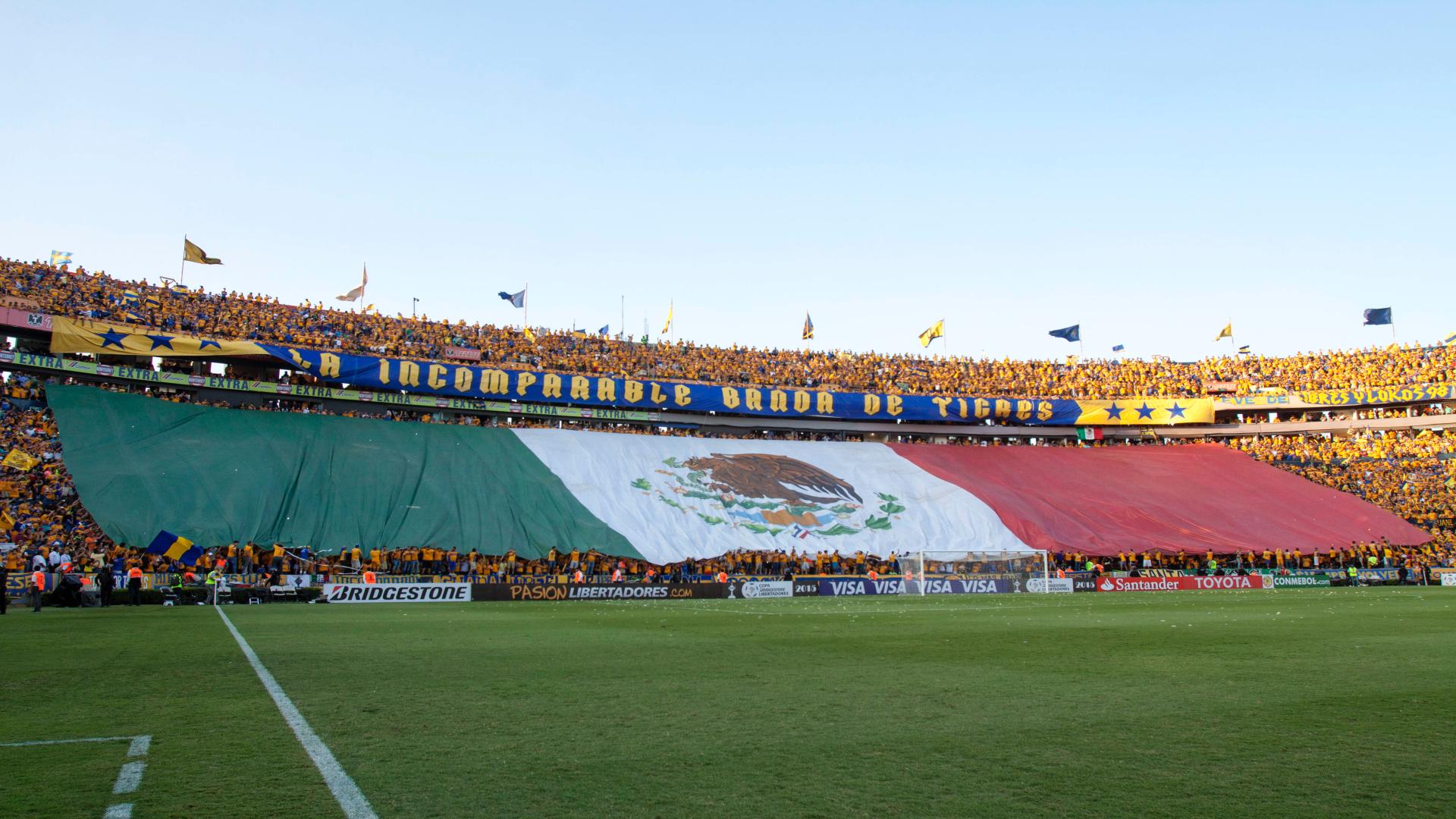 Aficionados de Tigres muestran una bandera de México en la final de la Copa Libertadores de 2015 (Foto: Cuartoscuro)