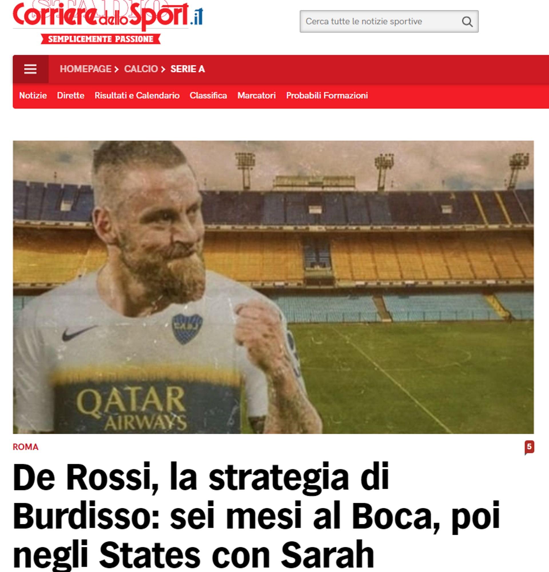 Corriere dello Sport develó el plan de Boca para seducir a Daniele De Rossi