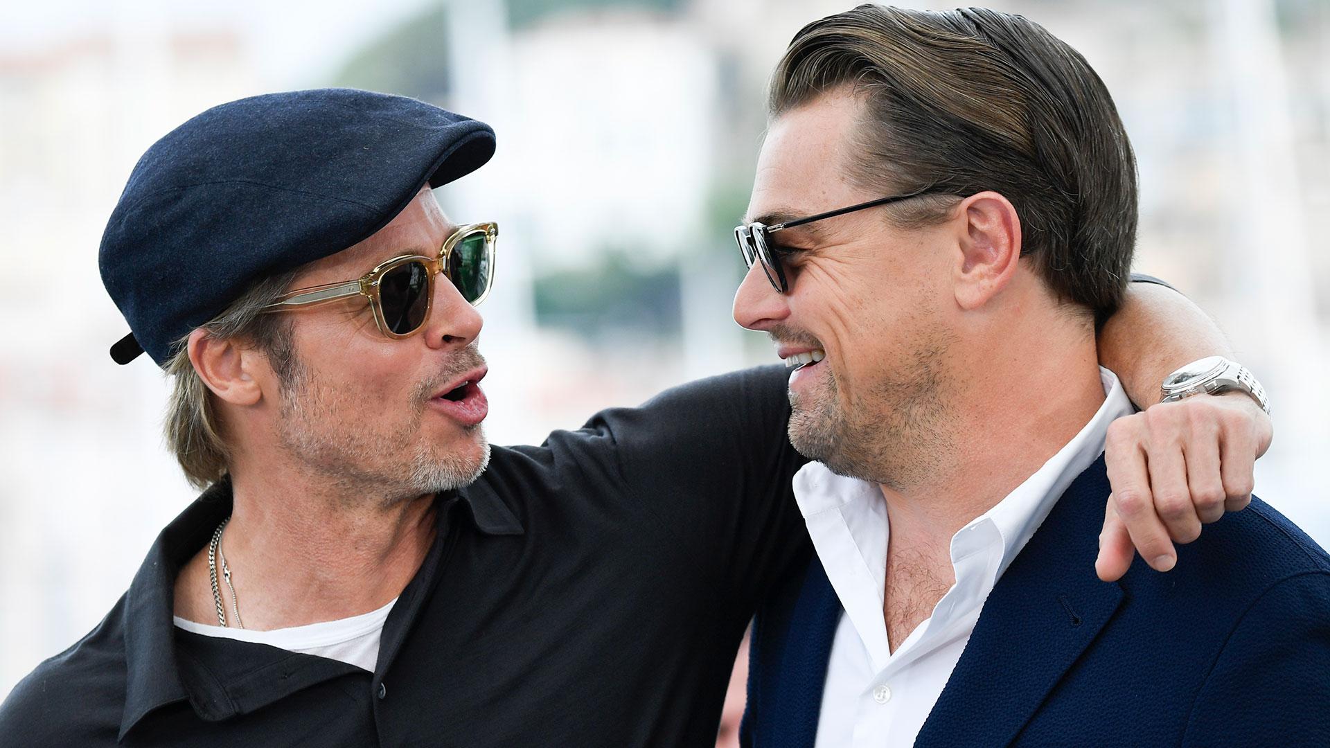 Brad Pitt y Leonardo DiCaprio en Cannes (AFP)