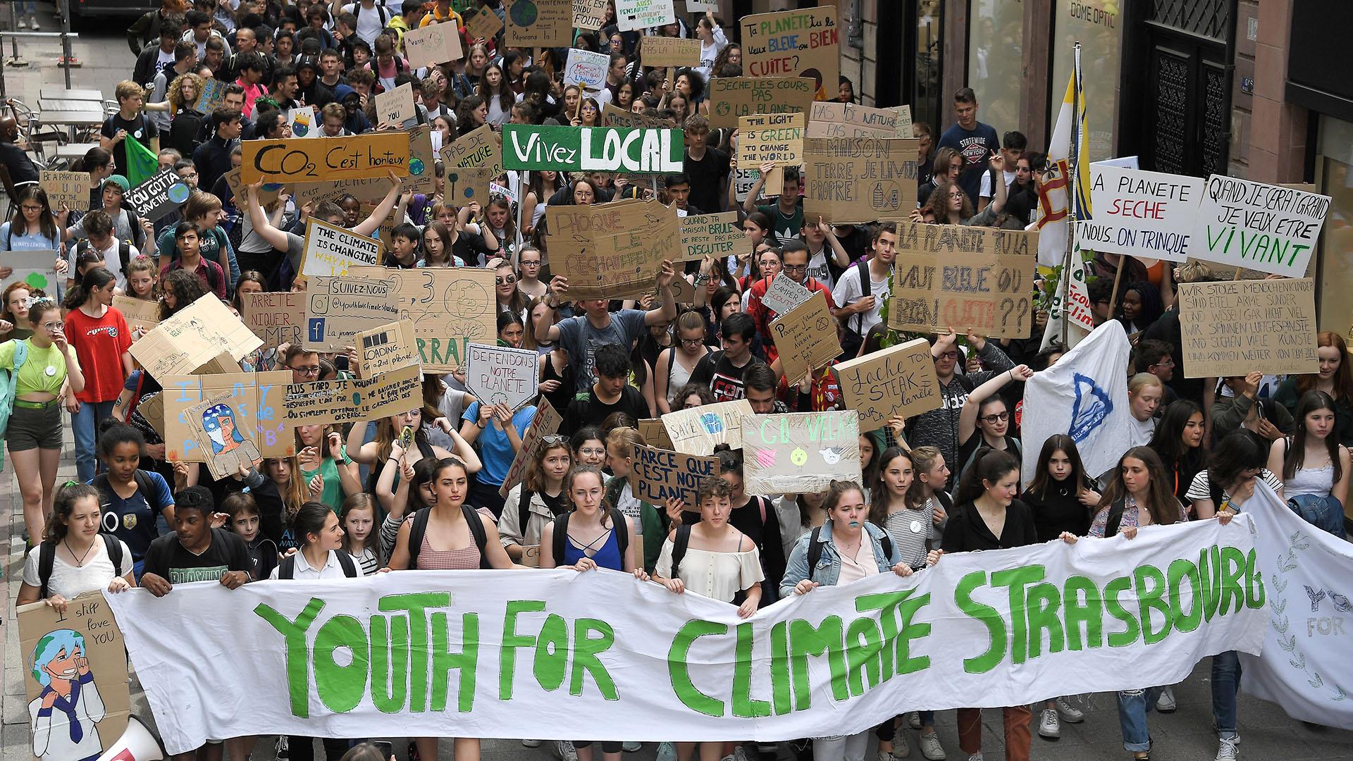 En un cambio desde las últimas elecciones al Parlamento Europeo, los principales partidos han adoptado el cambio climático como un grito de guerra, estimulado en parte por una ola de huelgas estudiantiles. (AFP)
