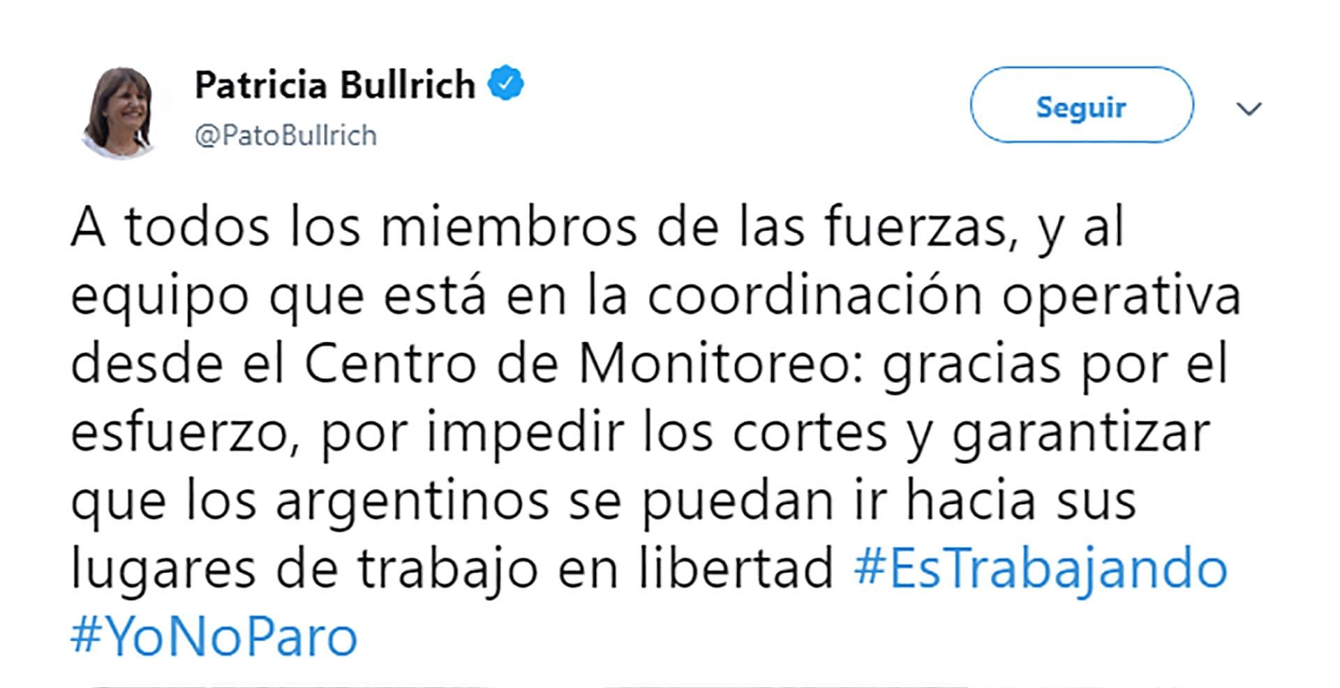 Tweet Patricia Bullrich - Paro 29 mayo