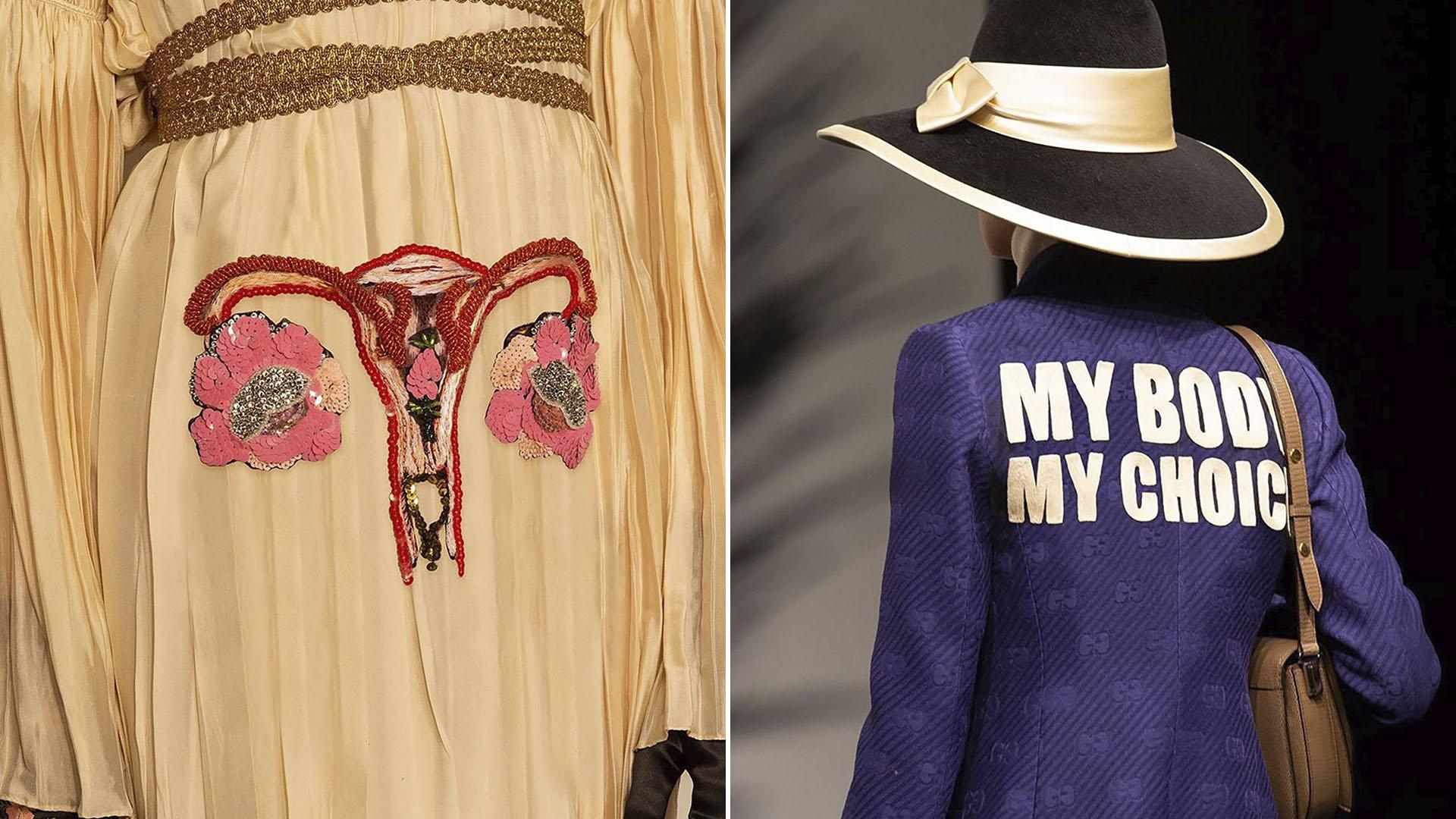 """""""El"""" vestido-útero bordado en la pasarela y la contundente espalda de la chaqueta del momento con la leyenda, """"mi cuerpo mi decisión""""."""