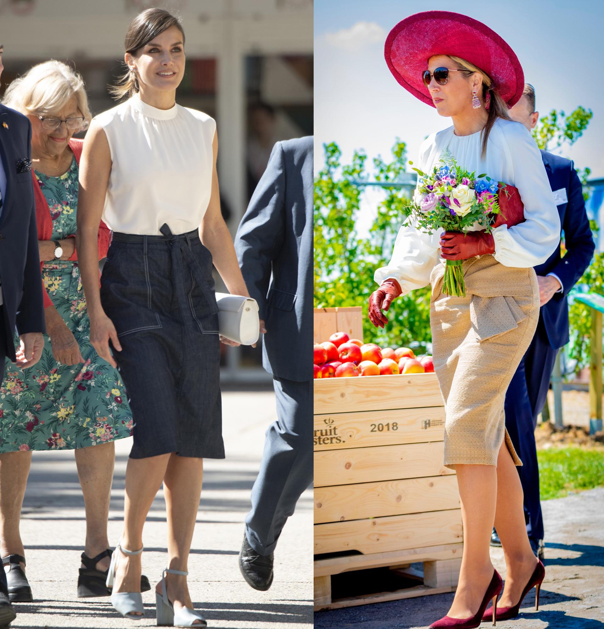 Las dos reinas eligieron blusas blancas con ligero drapeado en el frente y faldas midi.
