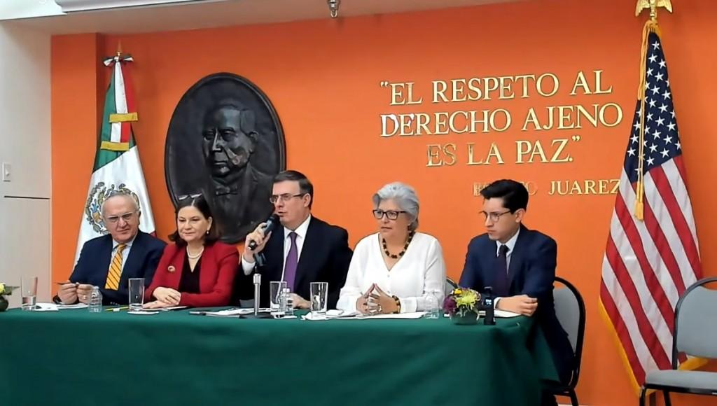 Ebrard, durante una conferencia de prensa este lunes desde la capital estadounidense (Foto: Captura de Pantalla)