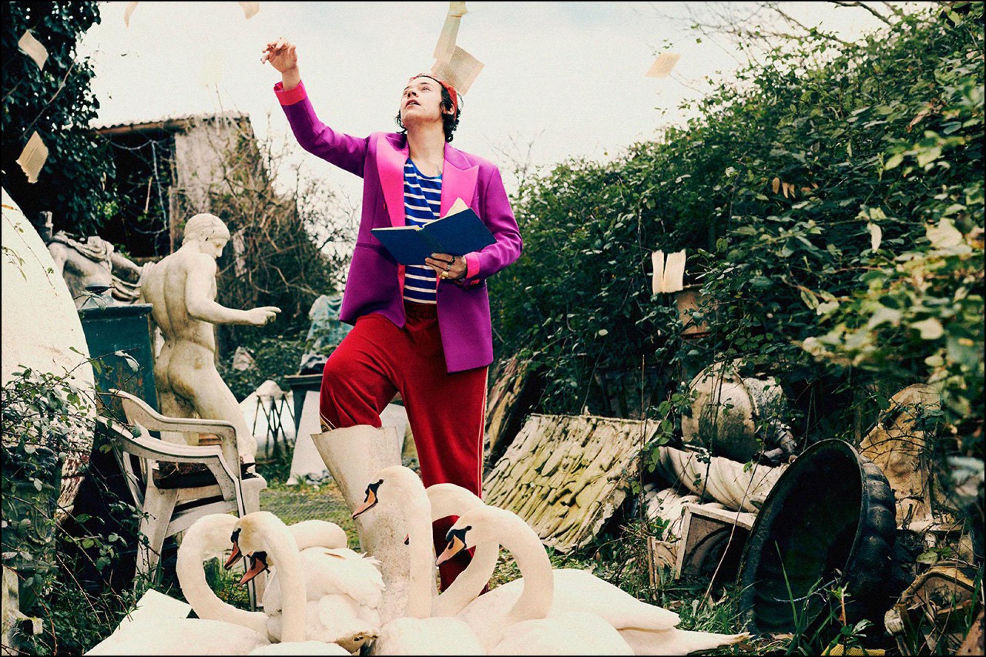Harry Stylesdesprende las páginas de un libro en medio de un jardín rodeado de cisnes.