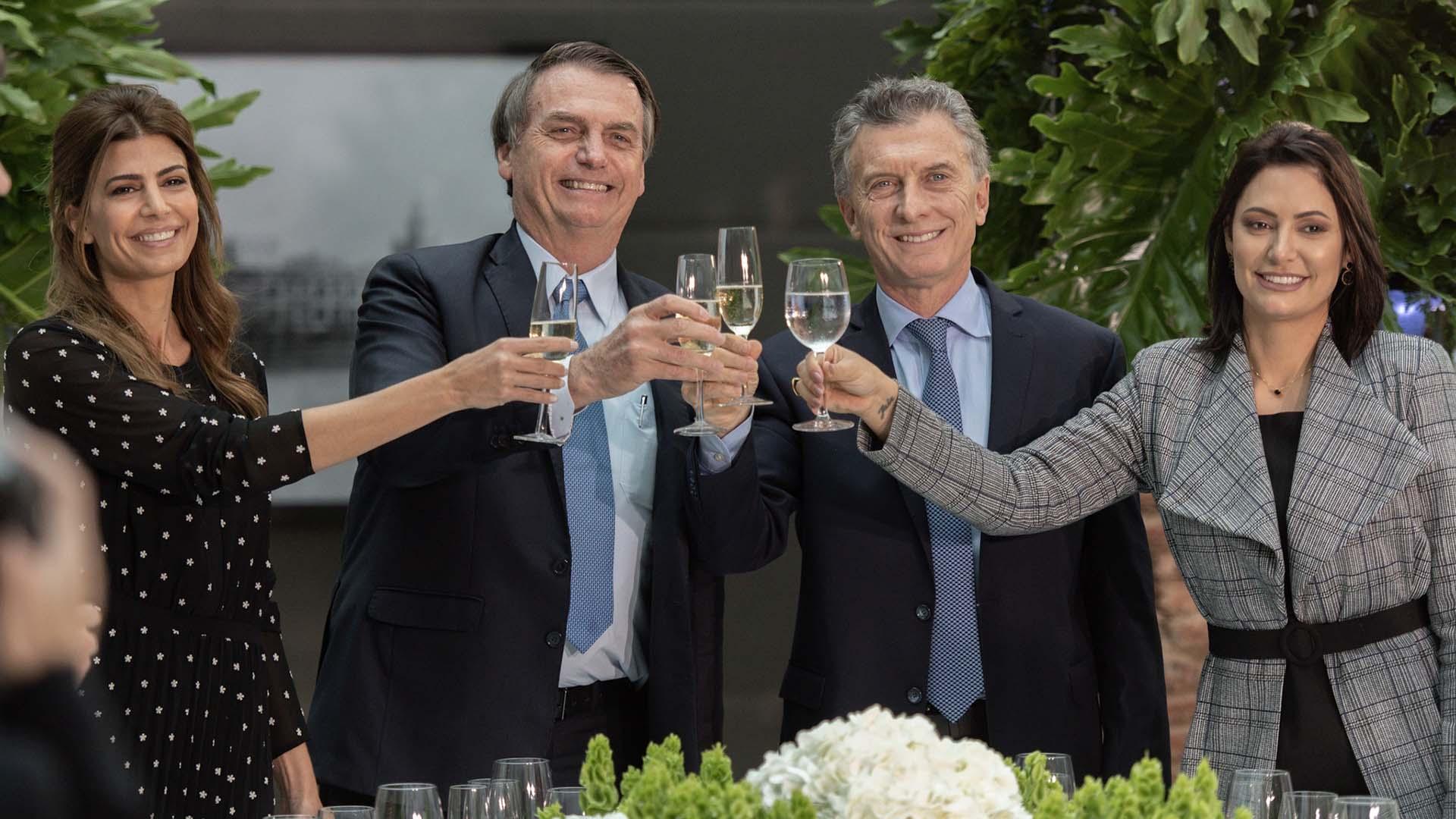 Juliana Awada, Jair Bolsonaro, Mauricio Macri, Michelle Bolsonaro