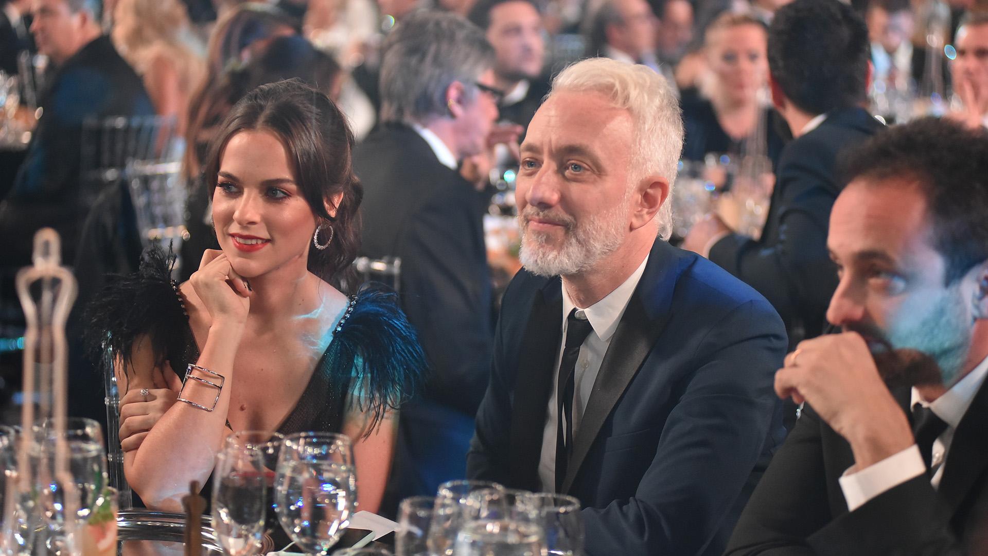 Andy Kusnetzoff, feliz por el Marrtín Fierro para PH, Podemos Hablar (Telefe), junto a su novia pareja Florencia Suárez