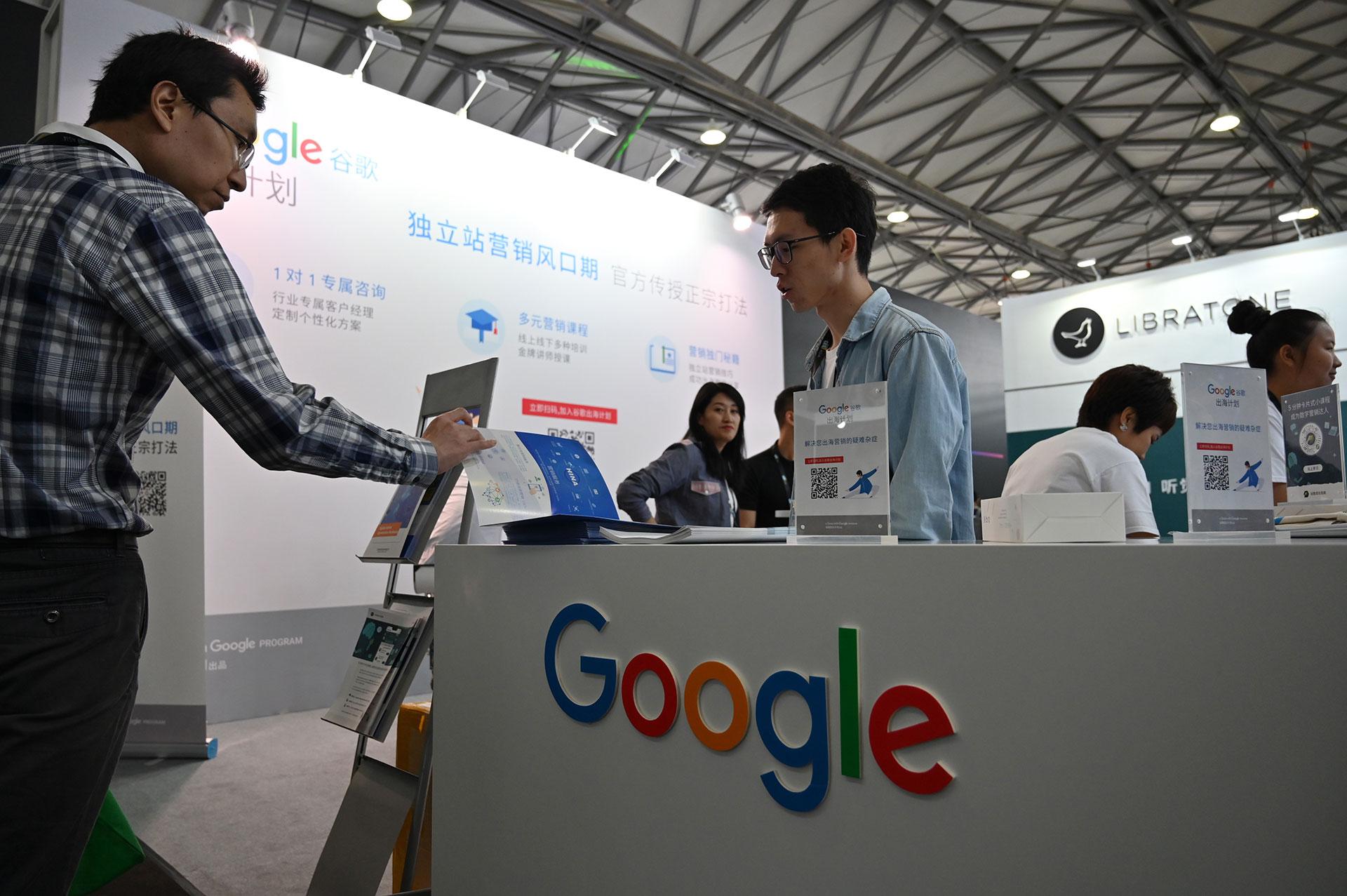 Una caseta de Google en CES Asia 2019. (AFP)
