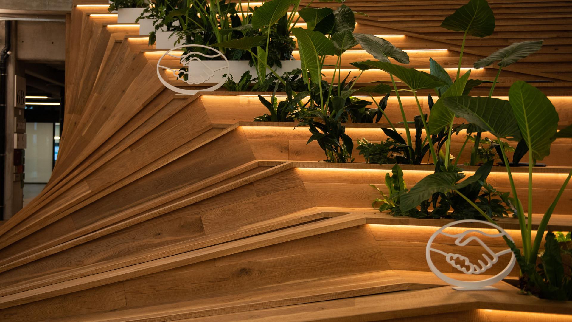 La madera, uno de los materiales nobles elegidos para la total renovación del edificio, que se encontraba abandonado