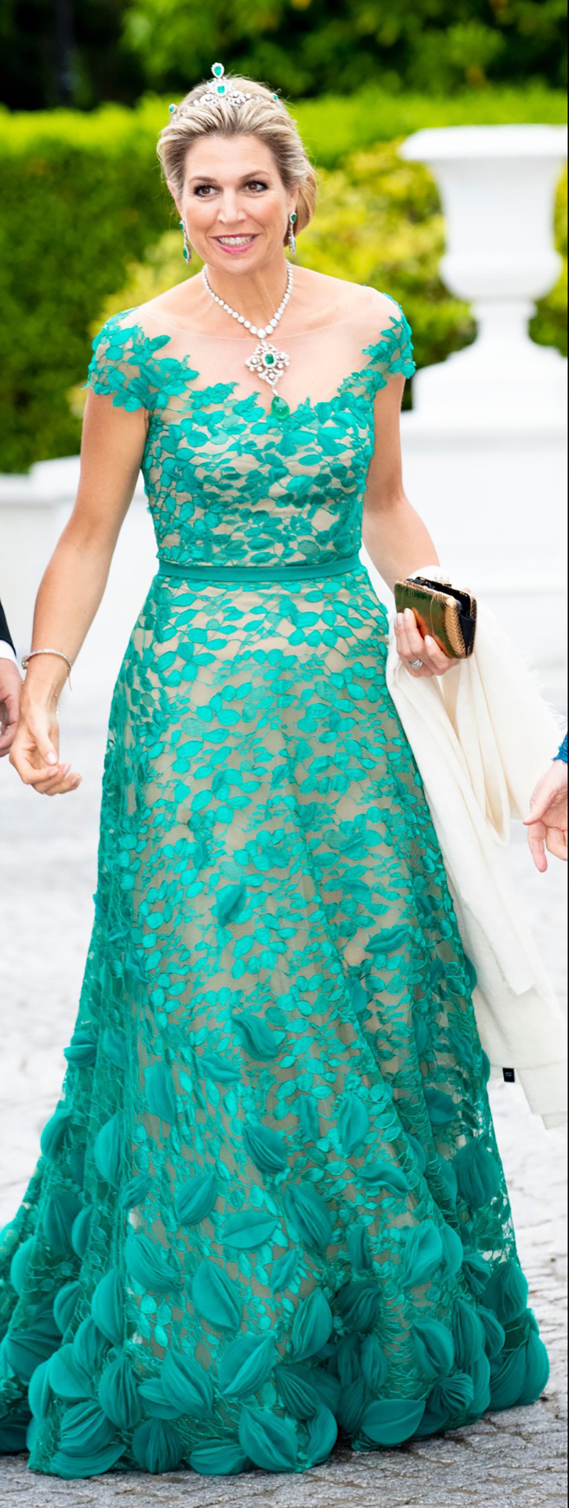 Para la cena de gala eligió vestirse de verde, un guiño para Irlanda, conocida como la Isla Esmeralda.