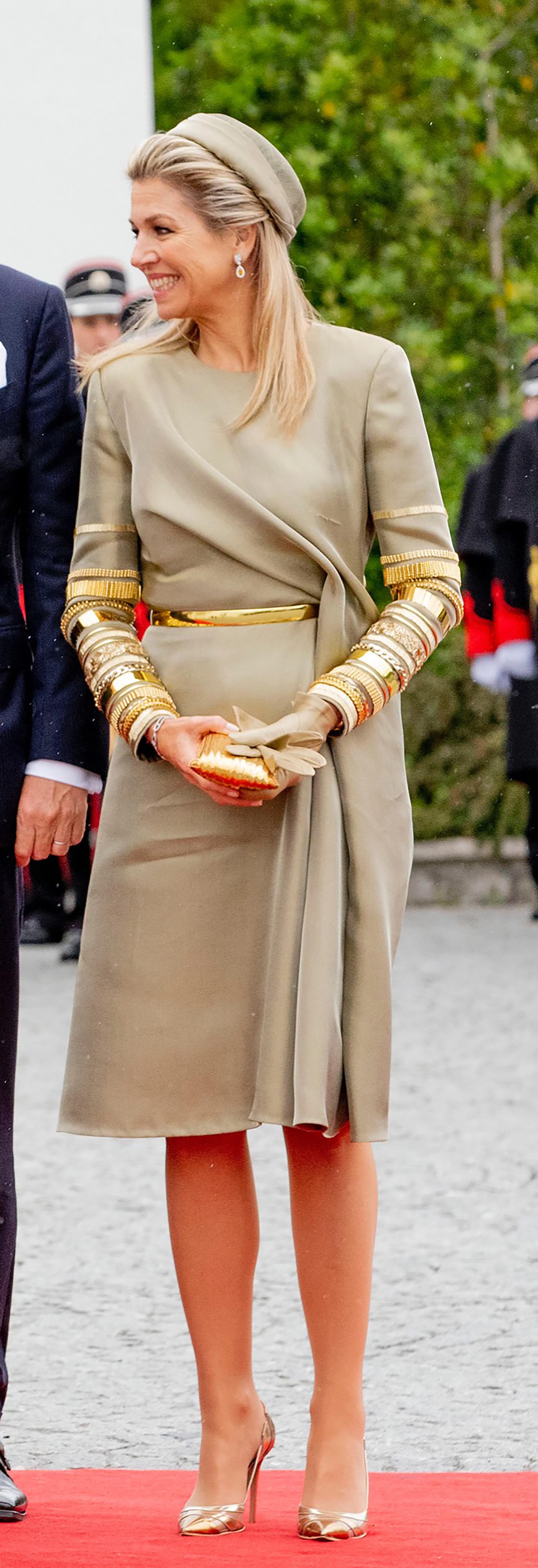 De dorado, la reina de Holanda supo brillar más que nunca.