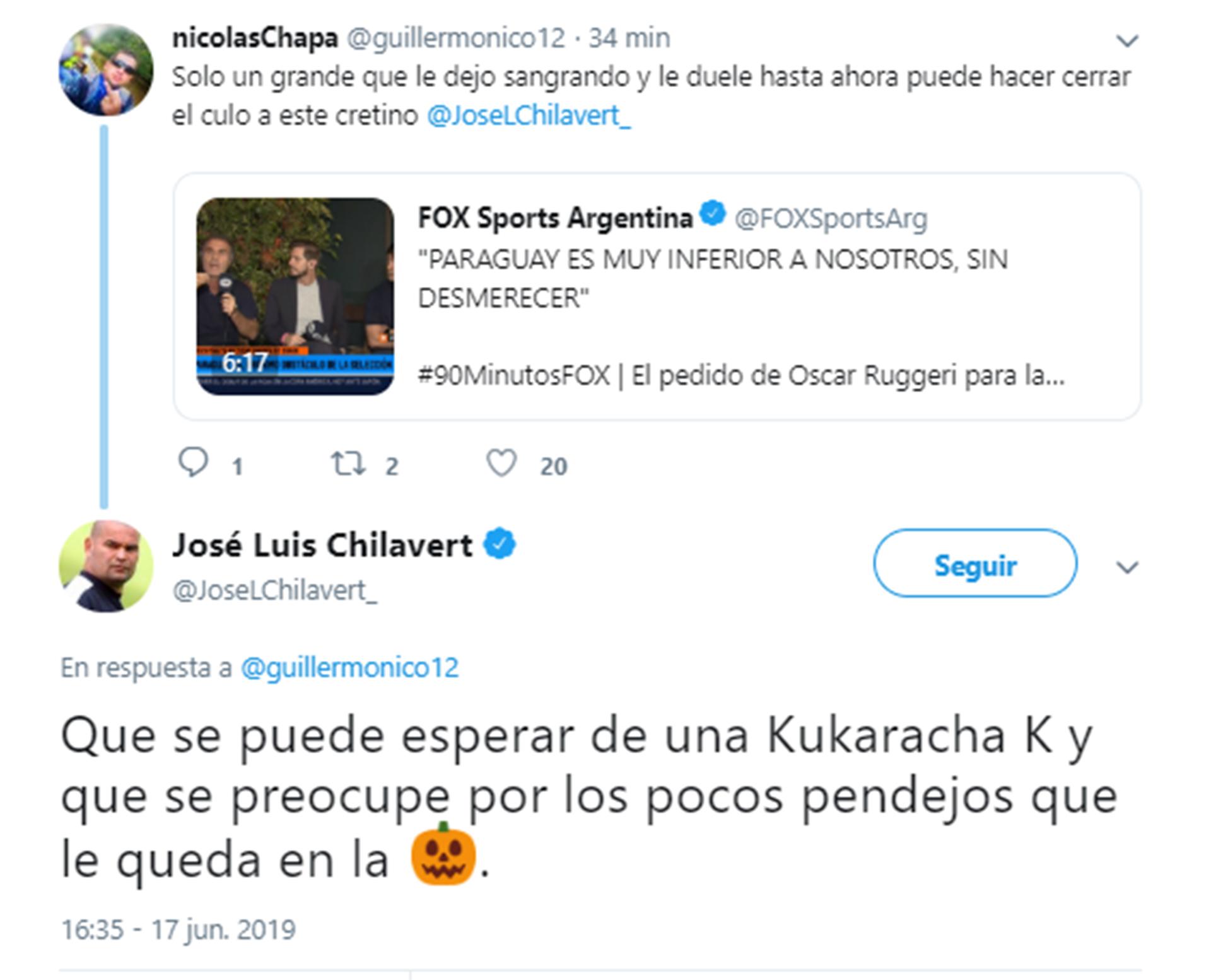 RT de Chilavert pegandole a Ruggeri y el tuit en el que lo mata (1)
