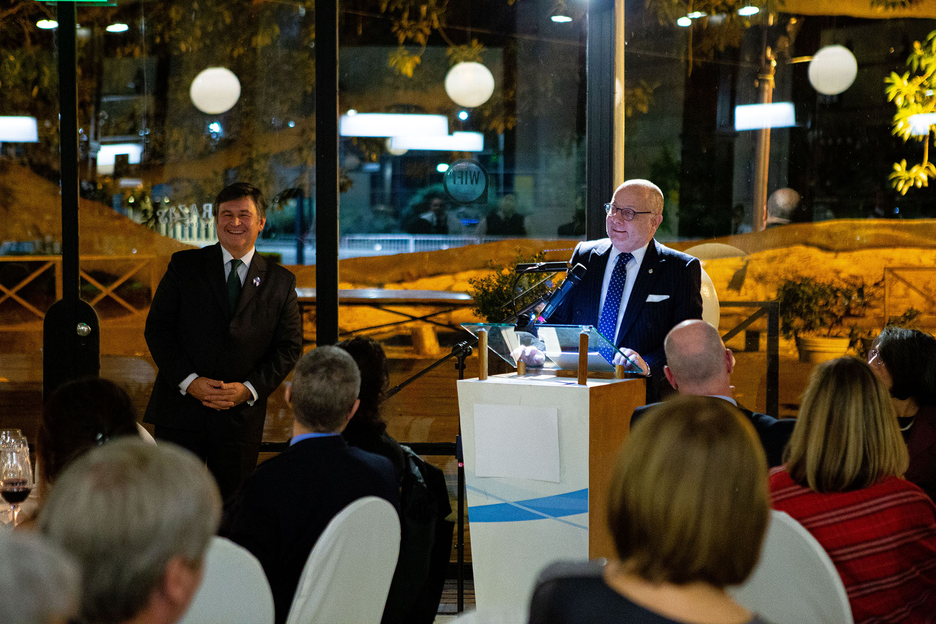Daniel Pelegrina, presidente de la Sociedad Rural Argentina, durante el discurso del canciller, Jorge Faurie