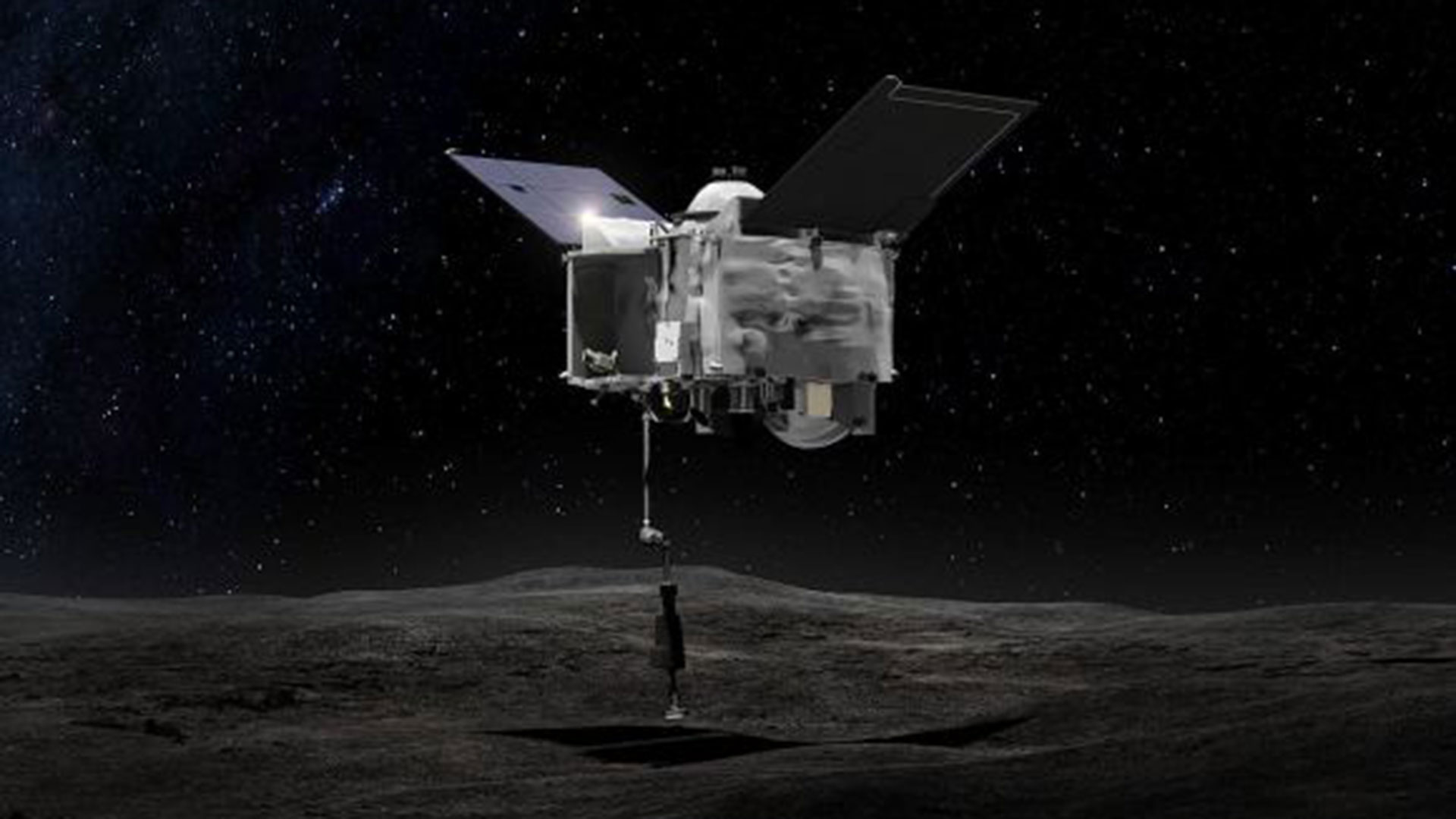 Ilustración de un artista de OSIRIS-REx recogiendo una muestra de la superficie de Bennu. (NASA)