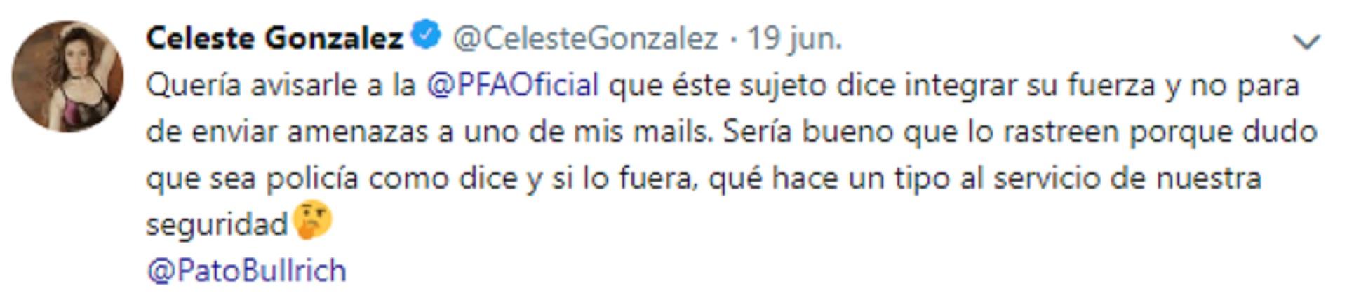 La columnista de Pop Radio denunció a través de su cuenta de Twitter al hombre que la amenazó con ser un efectivo de la Policía Federal Argentina