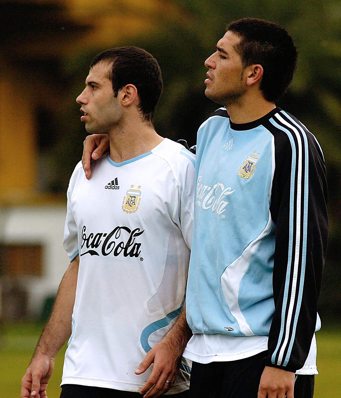 Junto a Javier Mascherano, en un entrenamiento de la Selección (NA)
