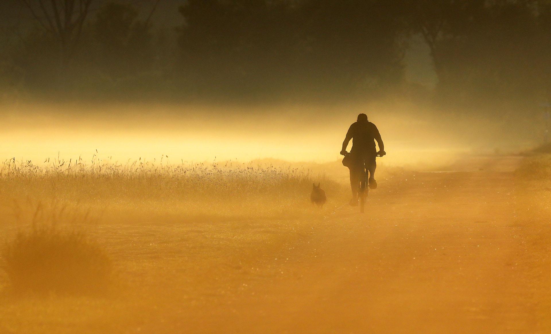 Un hombre con su perro en la niebla matutina de Riedlingen-Daugendorf, Alemania (Thomas Warnack/ AFP)