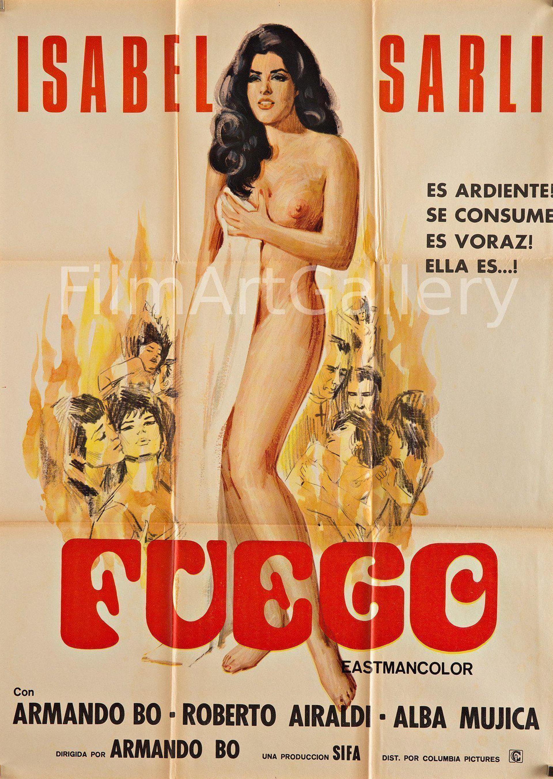 Otro poster de Fuego, de Armando Bó. El director John Waters dijo que era uno de sus filmes favoritos y la presentó en el 2002 en el Maryland Film Festival