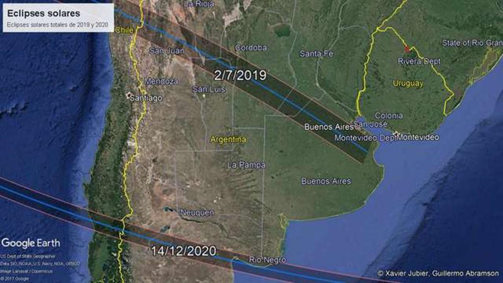 Los eclipses que transitarán la Argentina y Chile en 2019 y 2019. Crédito Guillermo Abramson y Xavier Jubier