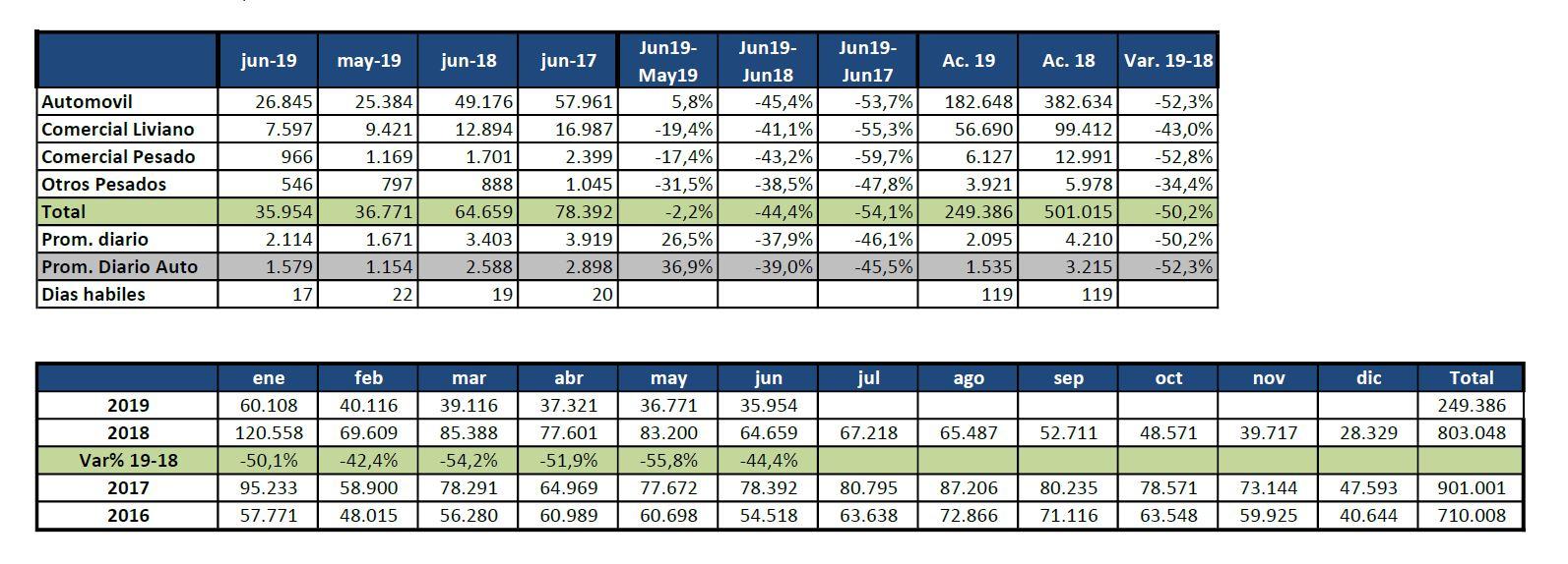Patentamientos en junio de 2019. Fuente: Acara