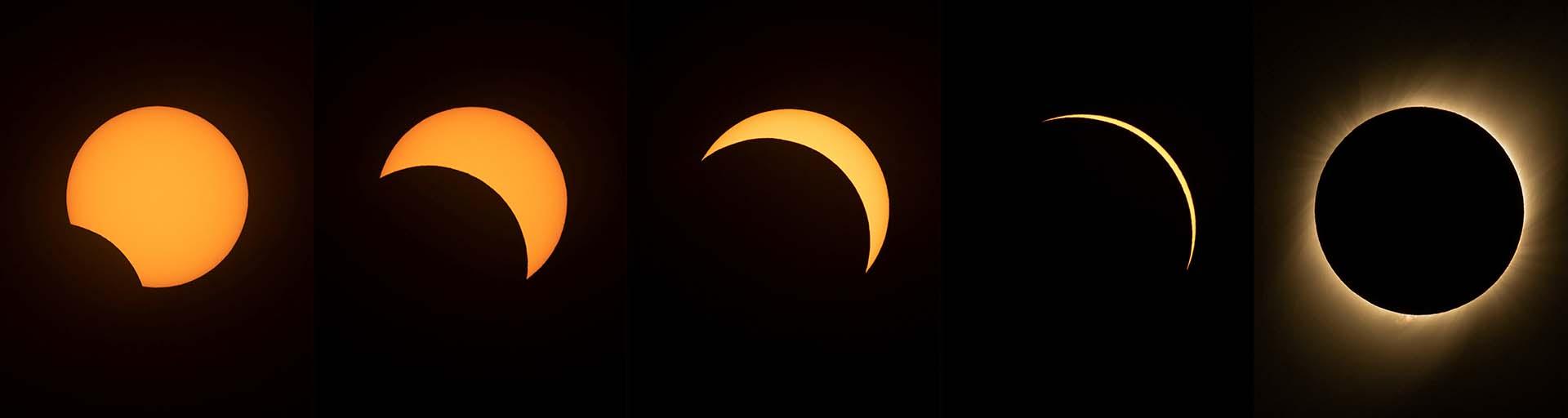 Esta combinación de imágenes creada el 02 de julio de 2019 muestra diferentes etapas del eclipse solar visto desde el Observatorio Europeo Austral (ESO) La Silla en La Higuera, región de Coquimbo, Chile (Photos by MARTIN BERNETTI / AFP)