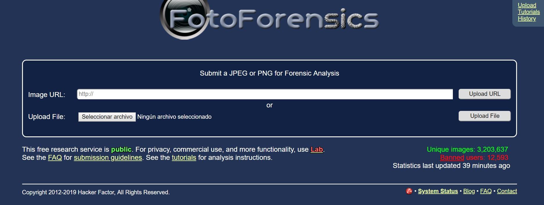 El sitio FotoForensics ofrece herramientas para deducir si una imagen fue editada o manipulada.
