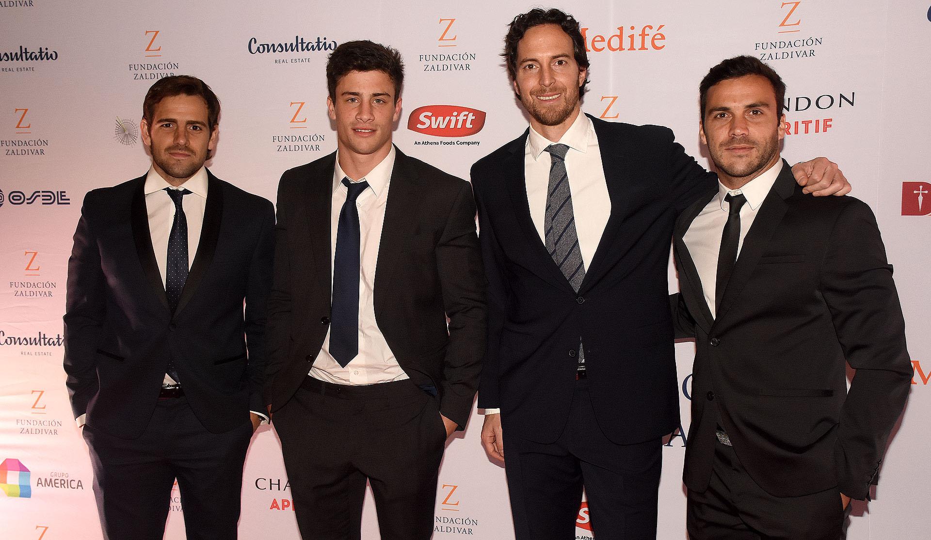 Nico Fernández, Bautista Delguy, Roger Zaldivar y Martin Landajo parte del equipo de Rugby de los Jaguares