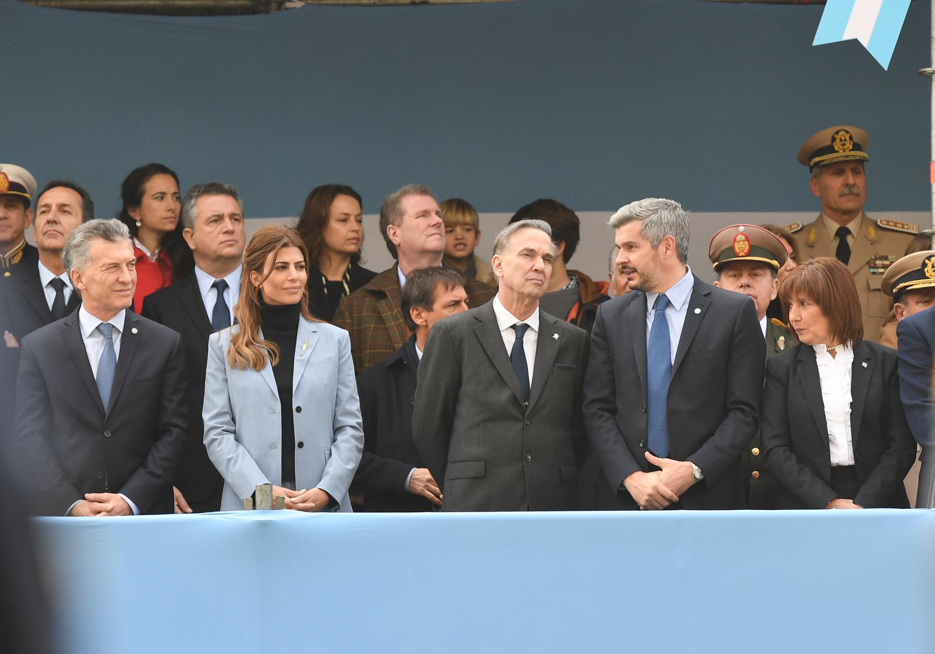 El jefe de Estado junto a su esposa, Juliana Awada, Miguel Pichetto, Marcos Peña y Patricia Bullrich