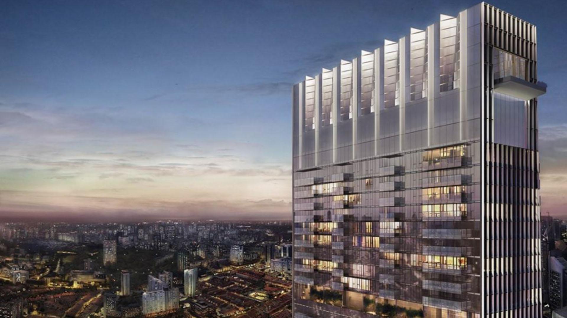 Este apartamento lujoso en la residencia Wallich, con ascensor privado, ocupa las tres últimas plantas de una torre de 64 pisos y 290 metros de alto, que se encuentra en el centro financiero de la ciudad y ofrece una vista panorámica (Sotheby's Realty website)