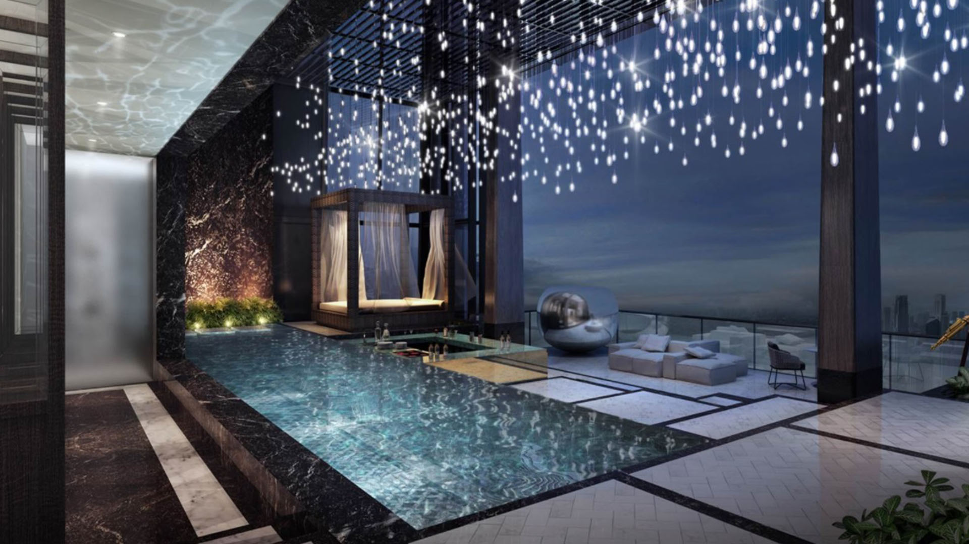 La piscina es privada y también dispone de un jacuzzi con una espectacular vista